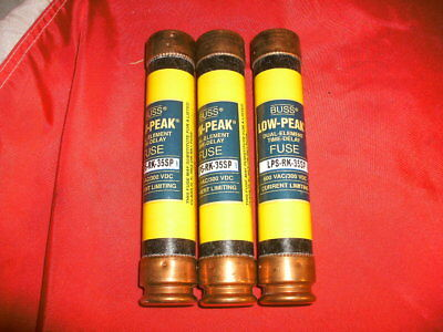 Cooper Bussmann Low Peak Fuse Lps-Rk-35Sp 35A 600Vac Rk1- Lot Of 3