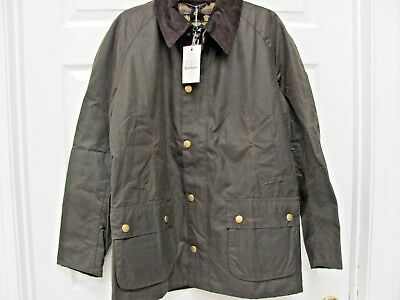 NWT Barbour ASHBY Jacket Olive Waxed Cotton Men's XL Tartan Lining