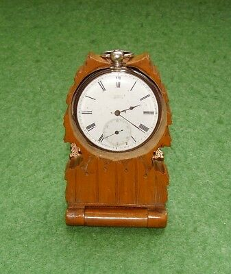ANTIQUE CARVED WOOD POCKET WATCH STAND QUALITY BLACK FOREST TREEN WALNUT c 1880