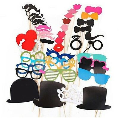 44PC DIY Photo Booth Props Moustache Hat Glasses Stick Party Fun - By TRIXES
