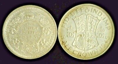 (2) King George Vi Silver Coins 1945 India Rupee Xf/au & 1945 Half Crown  (5333)