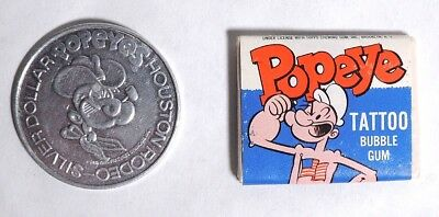 P457 Vintage: Popeye HOUSTON RODEO Coin & TATTOO Bubble Gum Topps (1982) [