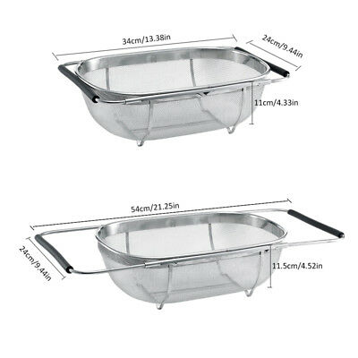 Over The Sink Colander Strainer Perforated Expandable Handles Stainless Steel