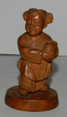 China : Cultural Revolution Boxwood Figure Of A Girl