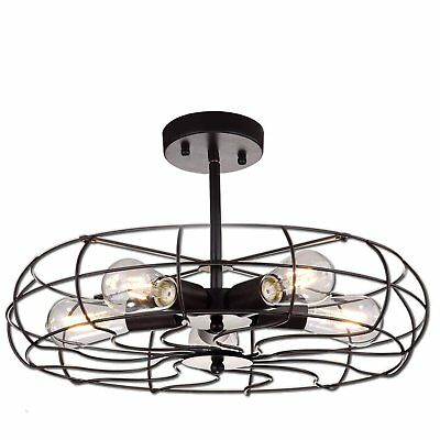 YOBO Vintage Barn 5 Light Round Semi Flush Metal Close to Ceiling Light Fixture
