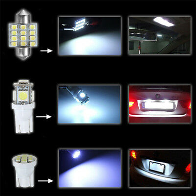 13 * Car White LED Lights Kit for Stock Interior & Dome & License Plate Lamps Hi
