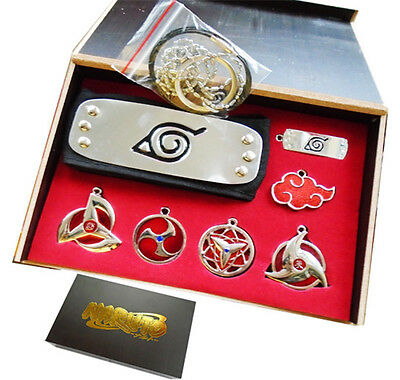 7PCS/Set Naruto  Sharingan Konoha Leaf Uchiha Pendant Necklace Keychain Headband