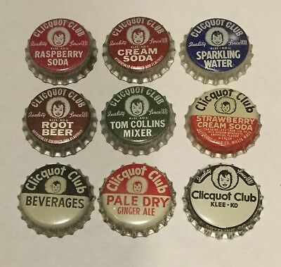 9 vintage Clicquot Club cork lined soda bottle caps 9 different