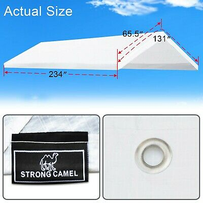 10x20' Carport Replacment Canopy Tent Top Garage Cover w Ball Bungees -Frame not