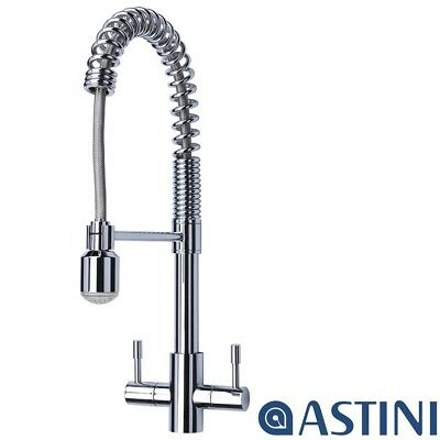 Astini Groove Chrome Twin Lever Pullout Spout Kitchen Sink Mixer Tap AST173