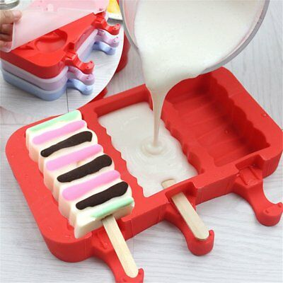 Lolly Maker DIY Ice Cream Popsicle Mould Frozen Pan Ice Pop Mold Silicone Tray T