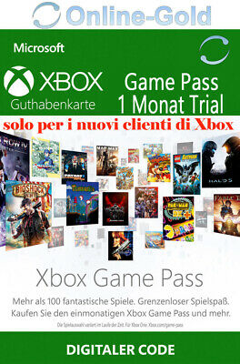Xbox Game Pass 1 Mese Trial Abbonamento - Codice Microsoft Xbox One - IT [Trial]