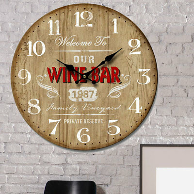 Vintage Design Wall Clock Kitchen Decor Time Display Wood Look Wine bar Imprint