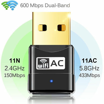 USB WiFi WLAN Stick 600Mbps 802.11AC Adapter AC 2.4G 5G Network Dongle Dual Band