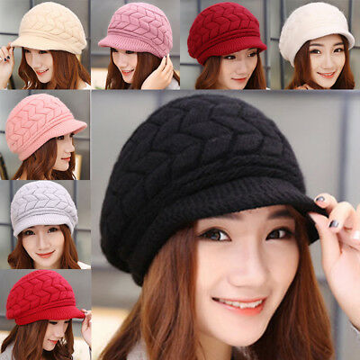 Women Ladies Winter Wool Knitted Crochet Slouch Baggy Beanie Hat Ski Cap Beret