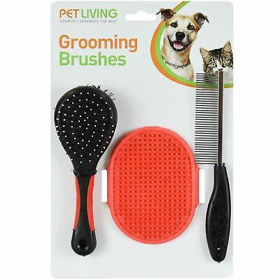 3 PC Dog Cat Pet Grooming Brush Set Double Sided Brush Flea Comb Rubber Mitt