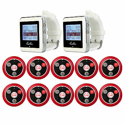 Calling Pager System 2Waiter Watch Receiver+ 10Guest Call Button for Restaurant