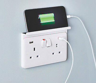 DOUBLE Mobile Phone / Tablet CHARGER SHELF Sits Over Mains PLUG Socket Outlet