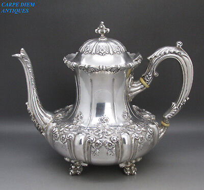 ANTIQUE STUNNING LARGE HEAVY SOLID STERLING SILVER COFFEE POT, 1220g, USA c1900