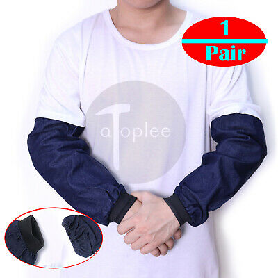 1Pair Blue Welding Arm Sleeves Denim Heat Protection Cut Resistant Safety