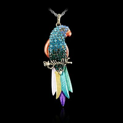 Fashion Crystal Parrot Animal Pendant Necklace Sweater Chain Women Jewellery Hot