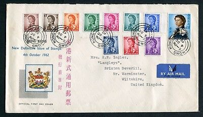 1962 China Hong Kong GB QEII Definitives set 11 x Stamps to $1.3 on FDC to GB UK