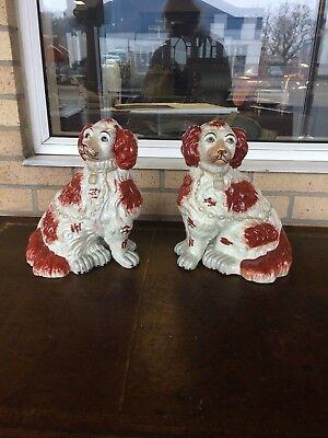 Pair of Large Vintage Hand Painted Reproduction Staffordshire Dogs