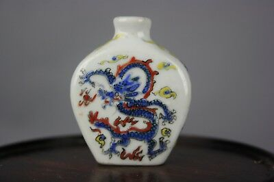 19th/20th C. Chinese Famille-rose Dragon Phoenix Porcelain Snuff Bottle