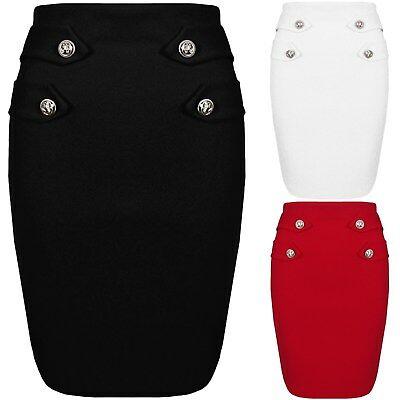 New Womens Elasticated Stretch Bodycon Pencil Button Detail Mini Ladies Skirt