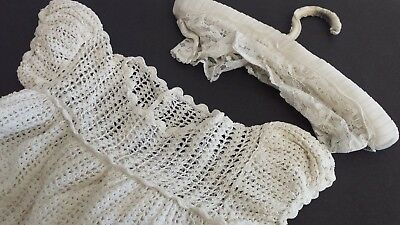 Vintage Christening Baptism Gown. Hand crocheted, cotton feel off white colour