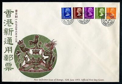 1973 China Hong Kong GB QEII Definitives Stamps to 30c on Unaddressed FDC