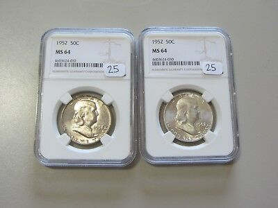 Lot Of 2 1952 Franklin Half Dollars Ngc Ms 64