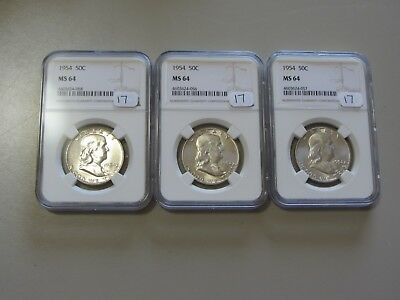 Lot Of 3 1954 Franklin Half Dollars Ngc Ms 64