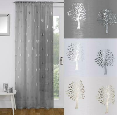 One Single BIRCH Shimmery Metallic Tree Design Voile Ready Made Slot Top Panel