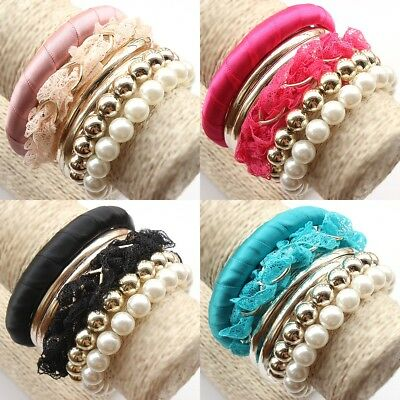 Lot Fashion Jewelry Multilayer Lace Pearl Beads Woman Party Bracelet Bangle Sets