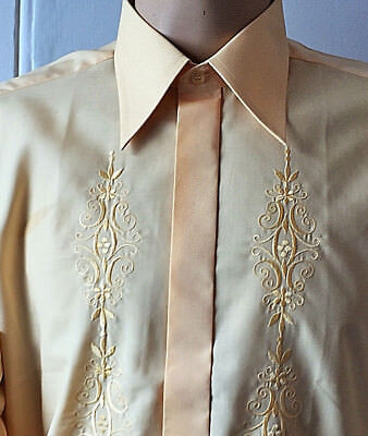 EMBROIDERED Peach Dress SHIRT 70's Retro Collar FORMAL Evening 48in x 16in XXL