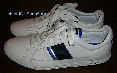 7b1bbef70 NIB LACOSTE Men s Sneakers Shoes EUROPA LACE YP SPM Leather White   Blue  Size 8M