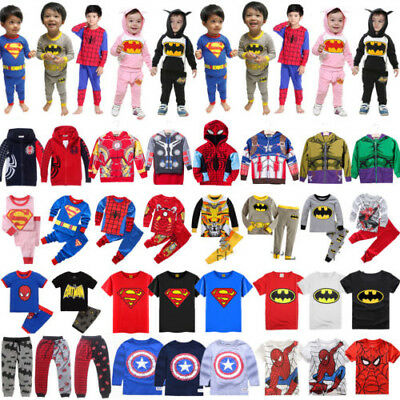 Kinder Baby Jungen Superheld Mantel Hoodie Jacke T-Shirt Top Hose Set Cosplay