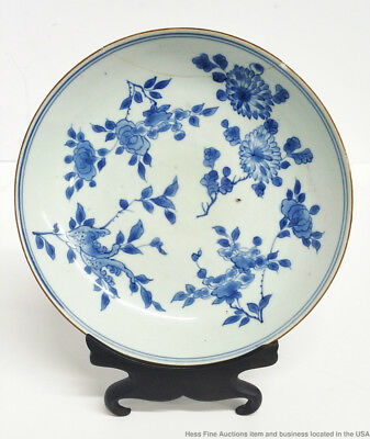 Antique Chinese Blue White Signed Floral Plate W Ring French Collection