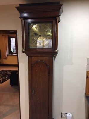 Antique oak longcase clock  grandfarther clock