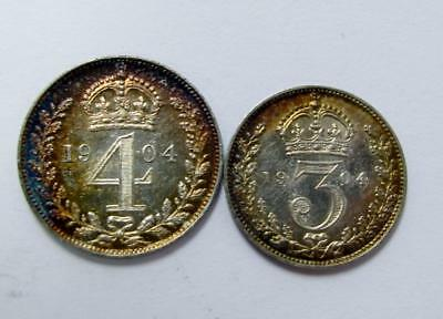 Proof Like 1904 4 Pence Groat And 3 Pence From Maundy Set Uncirculated