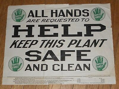 1914 Antique Advertisement for the Stonehouse Steel Sign Co. Plant Safety Sign