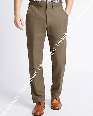 M&S Mens Premium Linen Cotton Blend Flat Front Fit Chino Trousers Pants W40/L31