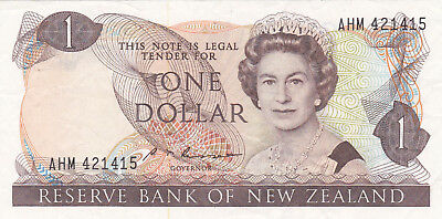 1 Dollar Fine Banknote From New Zealand 1985-89!pick-169!
