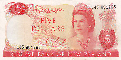 5 Dollars Very Fine Banknote From New Zealand 1985-89!pick-171