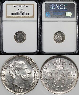 1885 Spain/Philippines 10 Centimos ~ NGC MS66 ~ TOP POP ~ 83.5% Silver ~ KM#148