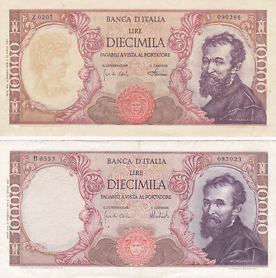 2X 10 000 Lire Vf Banknotes From Italy 1962!contemporary Fake&original Notes!
