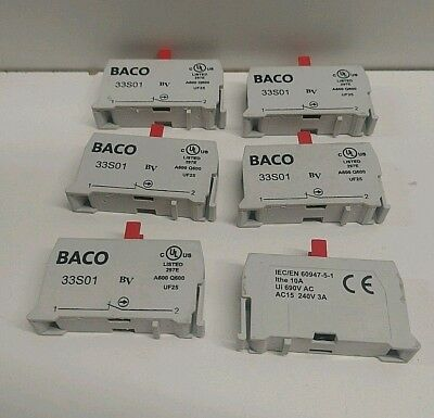 Lot Of (6) New Old Stock! Baco 10 Amp 690V Contact Blocks 33-S01