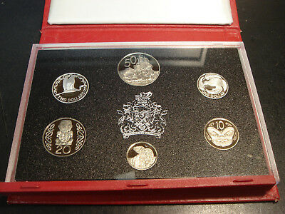1990 New Zealand Proof Set 6 Coins with Silver Two Dollars & One Dollar NO COA
