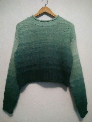 Vintage 80s 90s Sweater Fuzzy Mohair Wool Teal Blue Ombre Cropped M Dip Dye